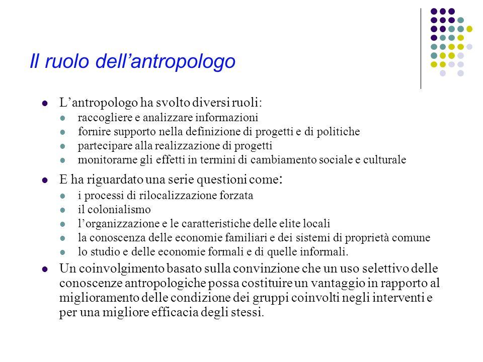 L'antropologia e la cooperazione allo sviluppo Il coinvolgimento dell'antropologia nella cooperazione per lo sviluppo e in progetti di cambiamento programmato vanta una lunga tradizione e allo stesso tempo è da sempre fonte di controversie e di scontri all'interno della disciplina.