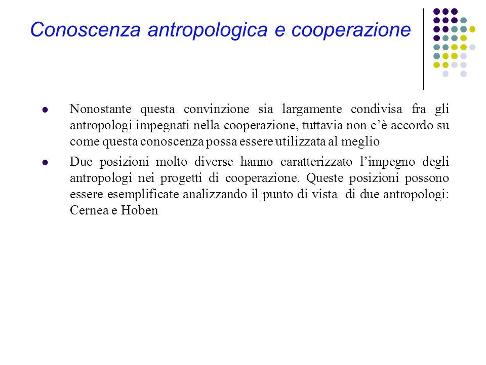 Il ruolo dell'antropologo L'antropologo ha svolto diversi ruoli: raccogliere e analizzare informazioni fornire supporto nella definizione di progetti