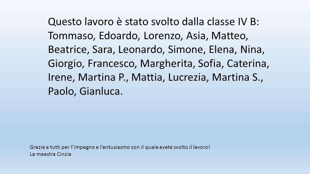 Questo lavoro è stato svolto dalla classe IV B: Tommaso, Edoardo, Lorenzo, Asia, Matteo, Beatrice, Sara, Leonardo, Simone, Elena, Nina, Giorgio, Franc