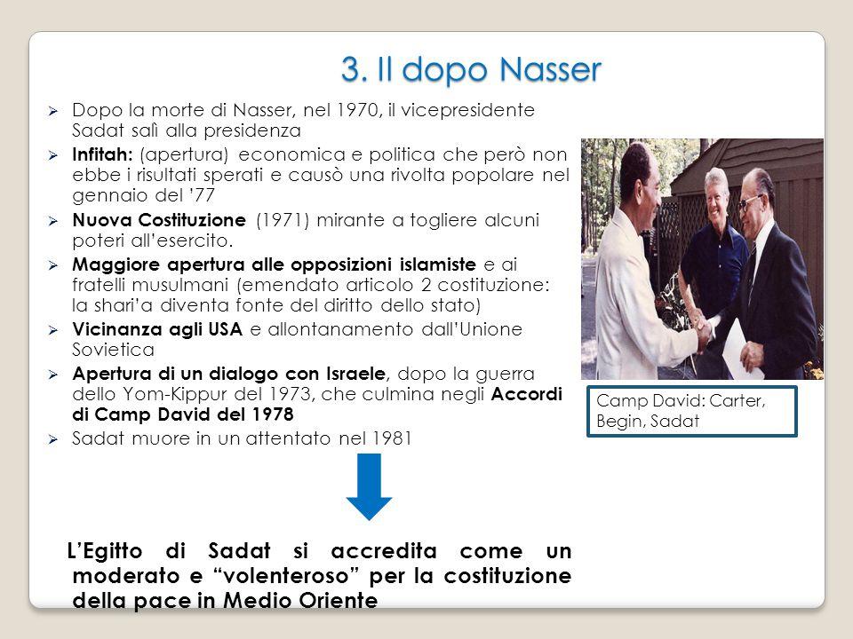 3. Il dopo Nasser  Dopo la morte di Nasser, nel 1970, il vicepresidente Sadat salì alla presidenza  Infitah: (apertura) economica e politica che per