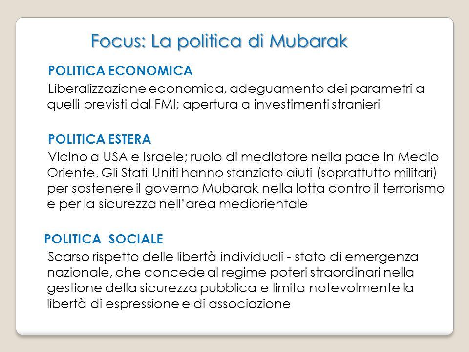 Focus: La politica di Mubarak Focus: La politica di Mubarak POLITICA ECONOMICA Liberalizzazione economica, adeguamento dei parametri a quelli previsti dal FMI; apertura a investimenti stranieri POLITICA ESTERA Vicino a USA e Israele; ruolo di mediatore nella pace in Medio Oriente.