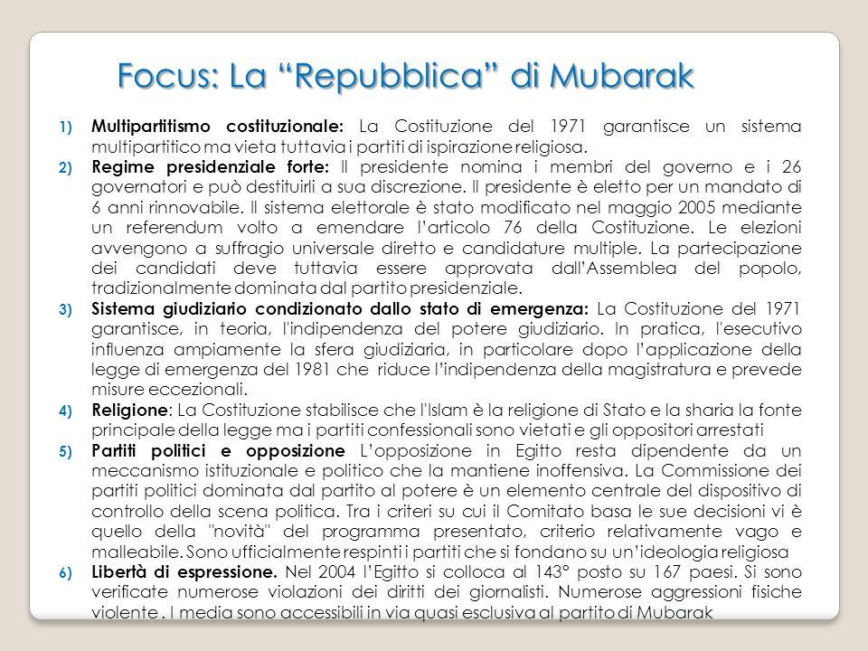 Focus: La Repubblica di Mubarak Focus: La Repubblica di Mubarak 1) Multipartitismo costituzionale: La Costituzione del 1971 garantisce un sistema multipartitico ma vieta tuttavia i partiti di ispirazione religiosa.