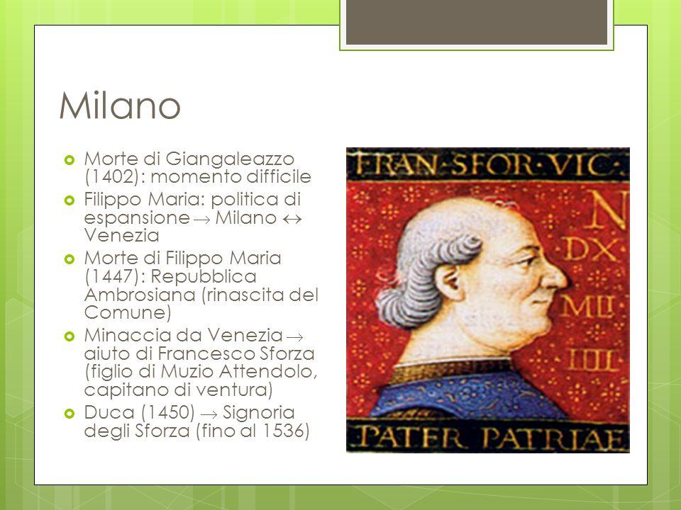 Milano  Morte di Giangaleazzo (1402): momento difficile  Filippo Maria: politica di espansione  Milano  Venezia  Morte di Filippo Maria (1447): R
