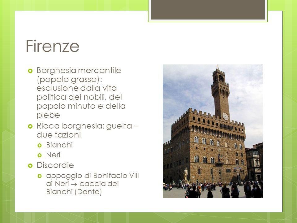 Firenze  Borghesia mercantile (popolo grasso): esclusione dalla vita politica dei nobili, del popolo minuto e della plebe  Ricca borghesia: guelfa –