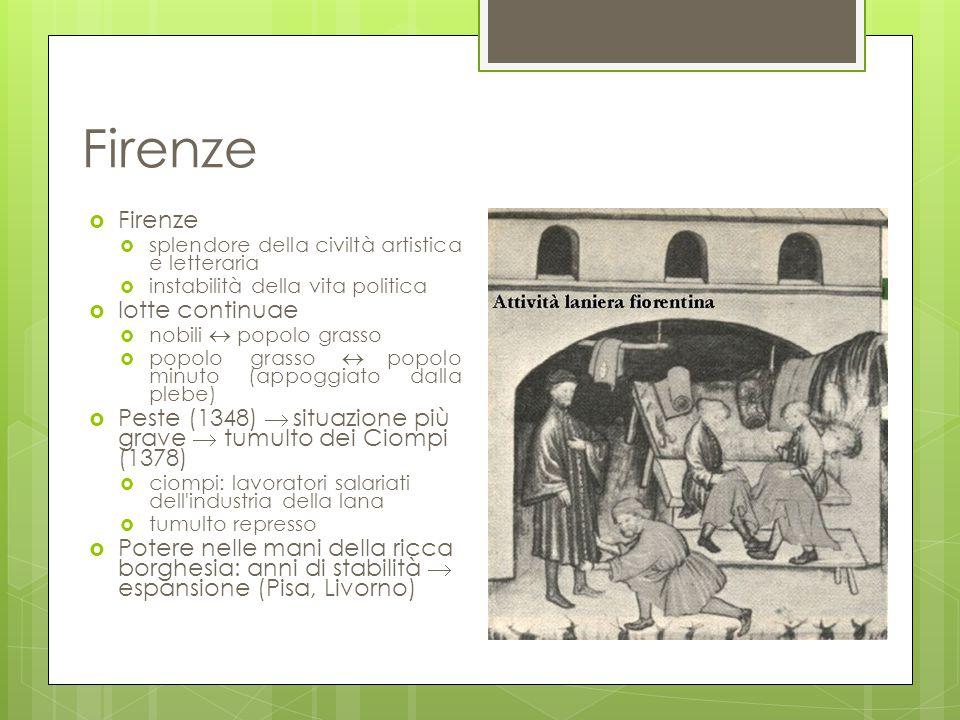 Firenze  Firenze  splendore della civiltà artistica e letteraria  instabilità della vita politica  lotte continuae  nobili  popolo grasso  popo