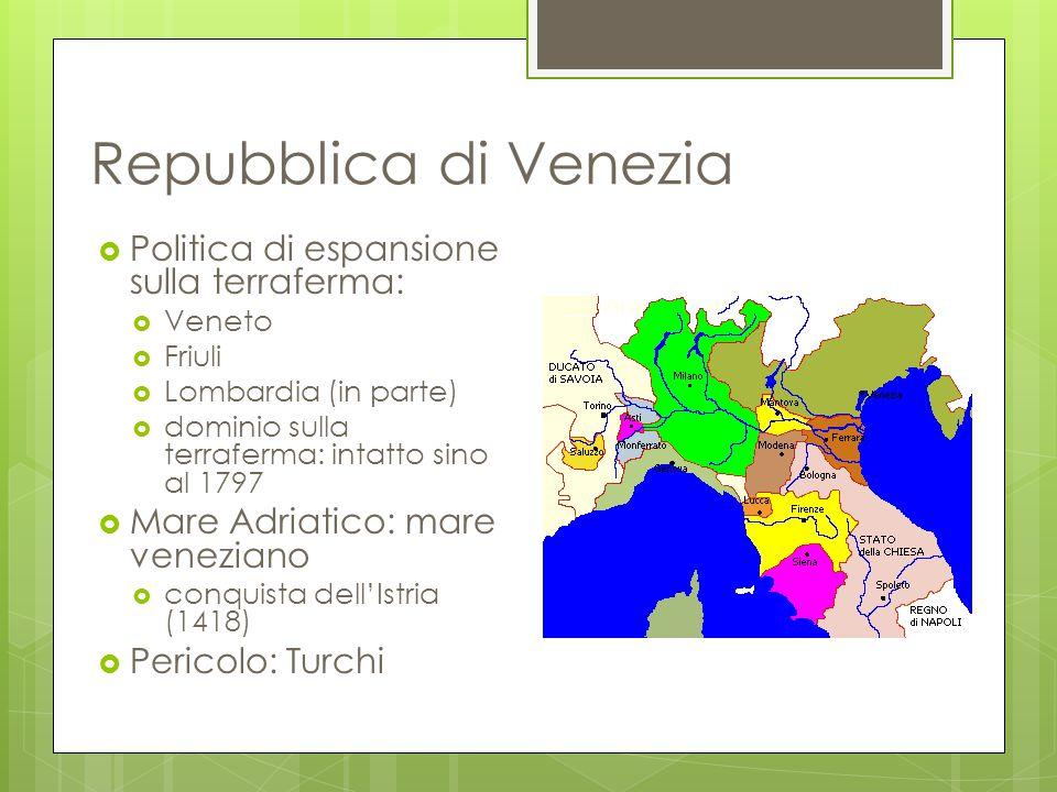 Repubblica di Venezia  Politica di espansione sulla terraferma:  Veneto  Friuli  Lombardia (in parte)  dominio sulla terraferma: intatto sino al