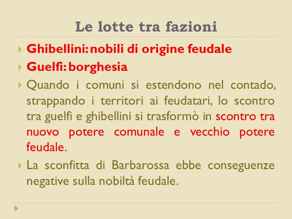 Le lotte tra fazioni  Ghibellini: nobili di origine feudale  Guelfi: borghesia  Quando i comuni si estendono nel contado, strappando i territori ai