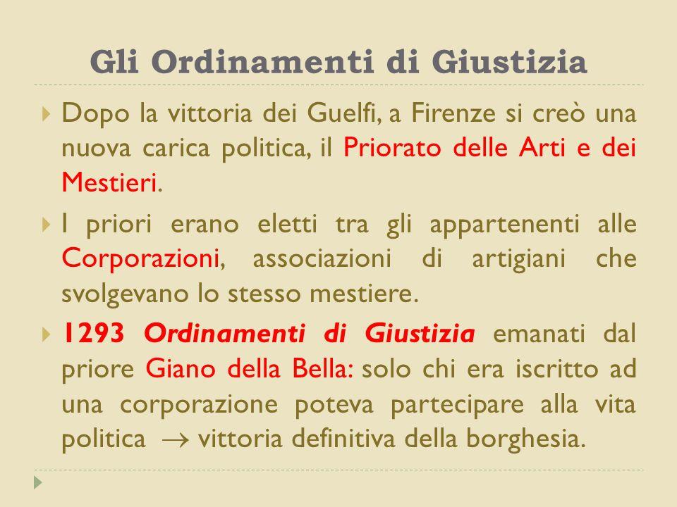 Gli Ordinamenti di Giustizia  Dopo la vittoria dei Guelfi, a Firenze si creò una nuova carica politica, il Priorato delle Arti e dei Mestieri.