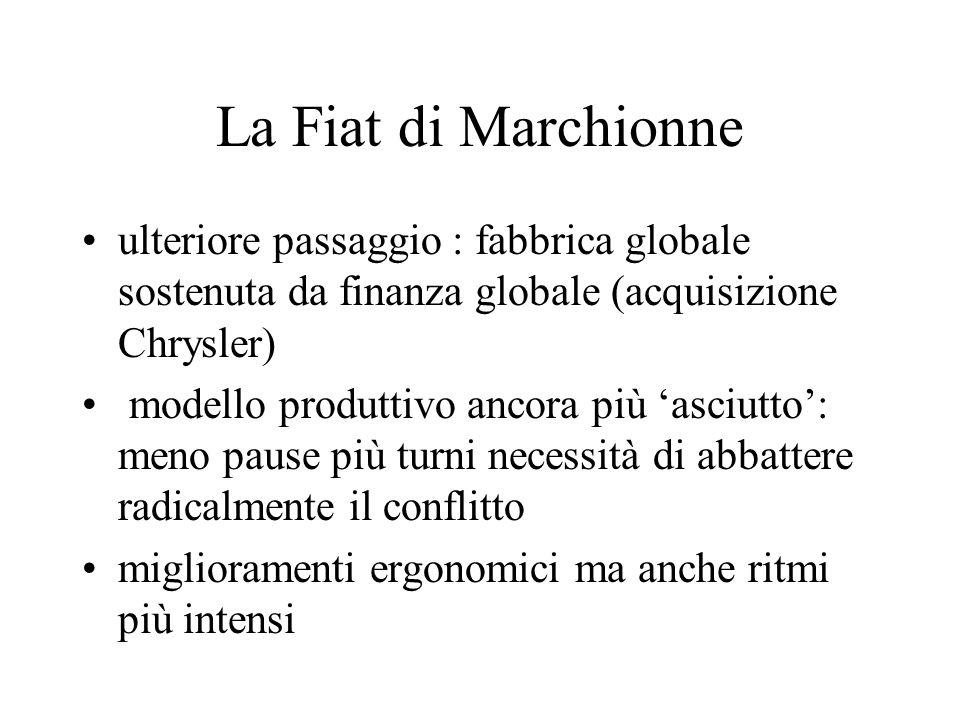 La Fiat di Marchionne ulteriore passaggio : fabbrica globale sostenuta da finanza globale (acquisizione Chrysler) modello produttivo ancora più 'asciu