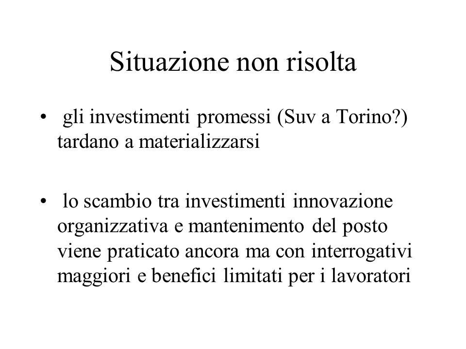 Situazione non risolta gli investimenti promessi (Suv a Torino?) tardano a materializzarsi lo scambio tra investimenti innovazione organizzativa e man