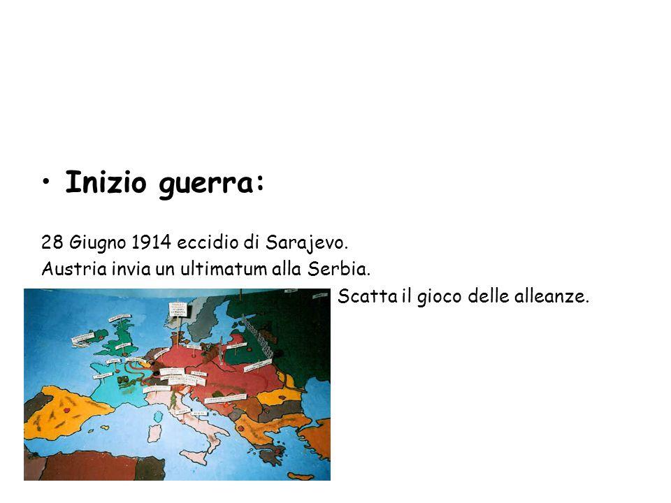 Inizio guerra: 28 Giugno 1914 eccidio di Sarajevo. Austria invia un ultimatum alla Serbia. Scatta il gioco delle alleanze.