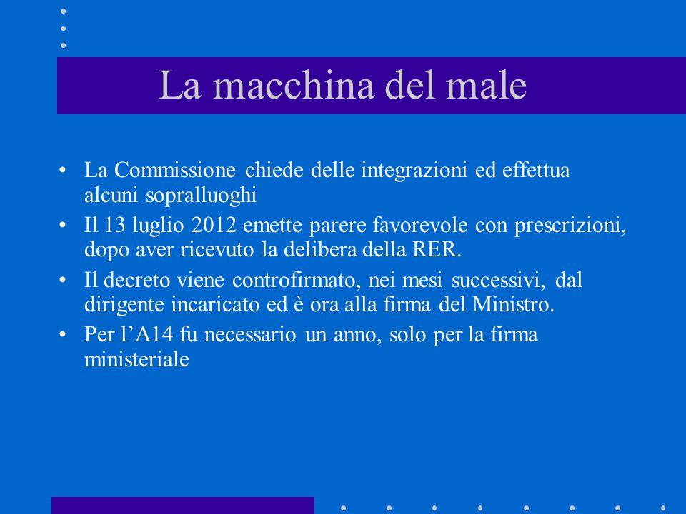 La Commissione chiede delle integrazioni ed effettua alcuni sopralluoghi Il 13 luglio 2012 emette parere favorevole con prescrizioni, dopo aver ricevuto la delibera della RER.