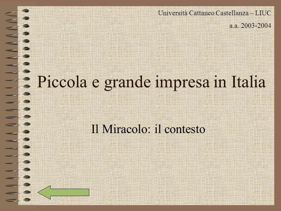 Piccola e grande impresa in Italia Il Miracolo: il contesto Università Cattaneo Castellanza – LIUC a.a.