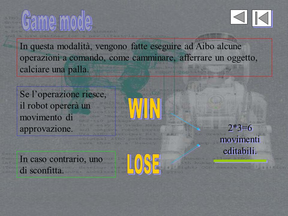 In questa modalità, vengono fatte eseguire ad Aibo alcune operazioni a comando, come camminare, afferrare un oggetto, calciare una palla.