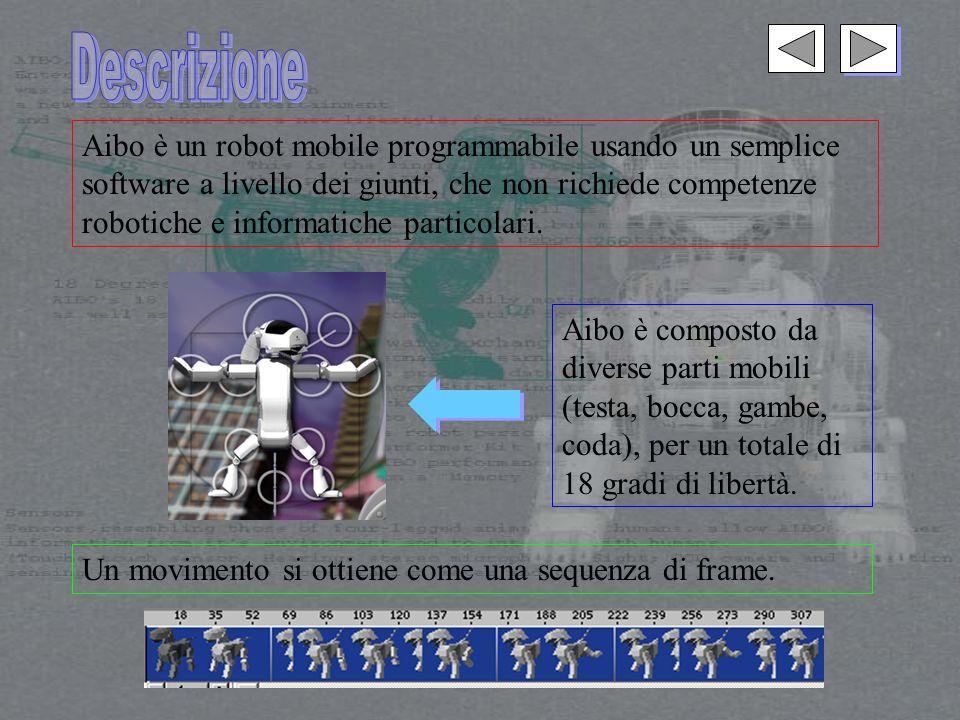 Aibo è un robot mobile programmabile usando un semplice software a livello dei giunti, che non richiede competenze robotiche e informatiche particolari.