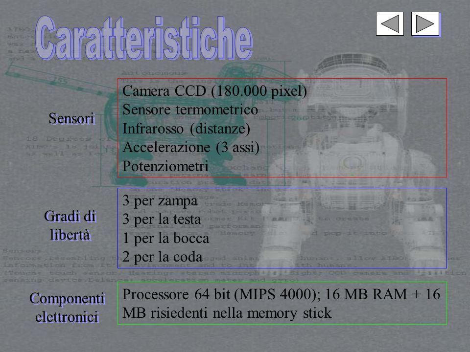 Sensori Camera CCD (180.000 pixel) Sensore termometrico Infrarosso (distanze) Accelerazione (3 assi) Potenziometri Gradi di libertà Gradi di libertà 3 per zampa 3 per la testa 1 per la bocca 2 per la coda Componenti elettronici Componenti elettronici Processore 64 bit (MIPS 4000); 16 MB RAM + 16 MB risiedenti nella memory stick