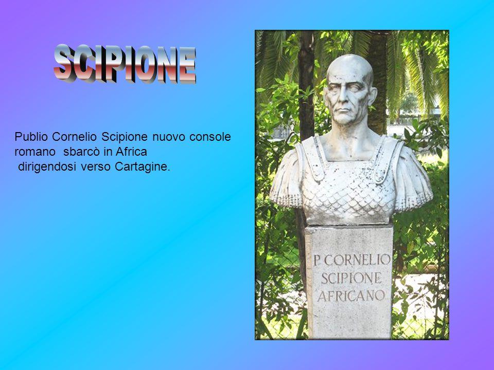 Publio Cornelio Scipione nuovo console romano sbarcò in Africa dirigendosi verso Cartagine.
