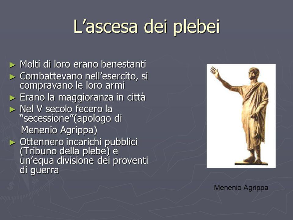 L'ascesa dei plebei ► Molti di loro erano benestanti ► Combattevano nell'esercito, si compravano le loro armi ► Erano la maggioranza in città ► Nel V