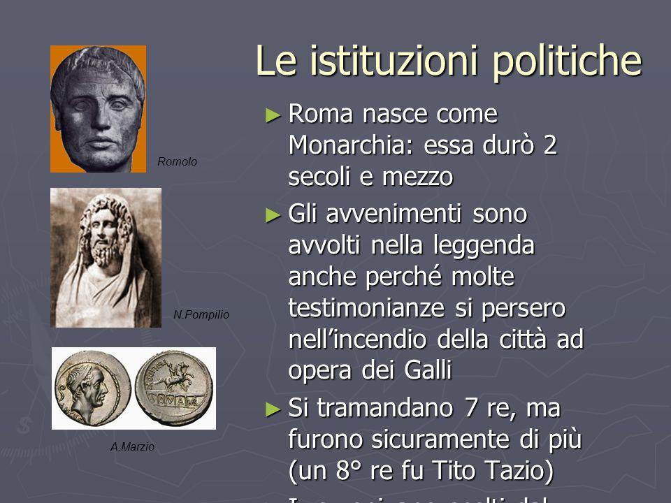 Le istituzioni politiche ► Roma nasce come Monarchia: essa durò 2 secoli e mezzo ► Gli avvenimenti sono avvolti nella leggenda anche perché molte test