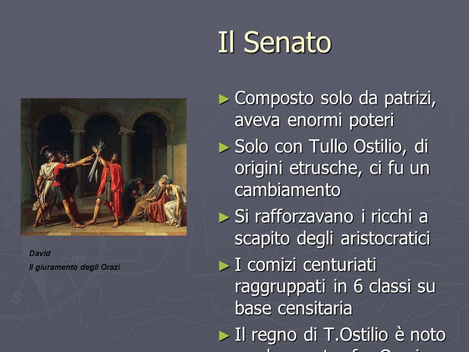 Il Senato Il Senato ► Composto solo da patrizi, aveva enormi poteri ► Solo con Tullo Ostilio, di origini etrusche, ci fu un cambiamento ► Si rafforzav