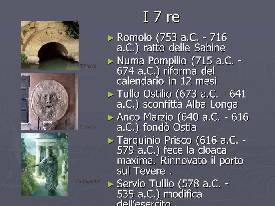 I 7 re I 7 re ► Romolo (753 a.C. - 716 a.C.) ratto delle Sabine ► Numa Pompilio (715 a.C. - 674 a.C.) riforma del calendario in 12 mesi ► Tullo Ostili