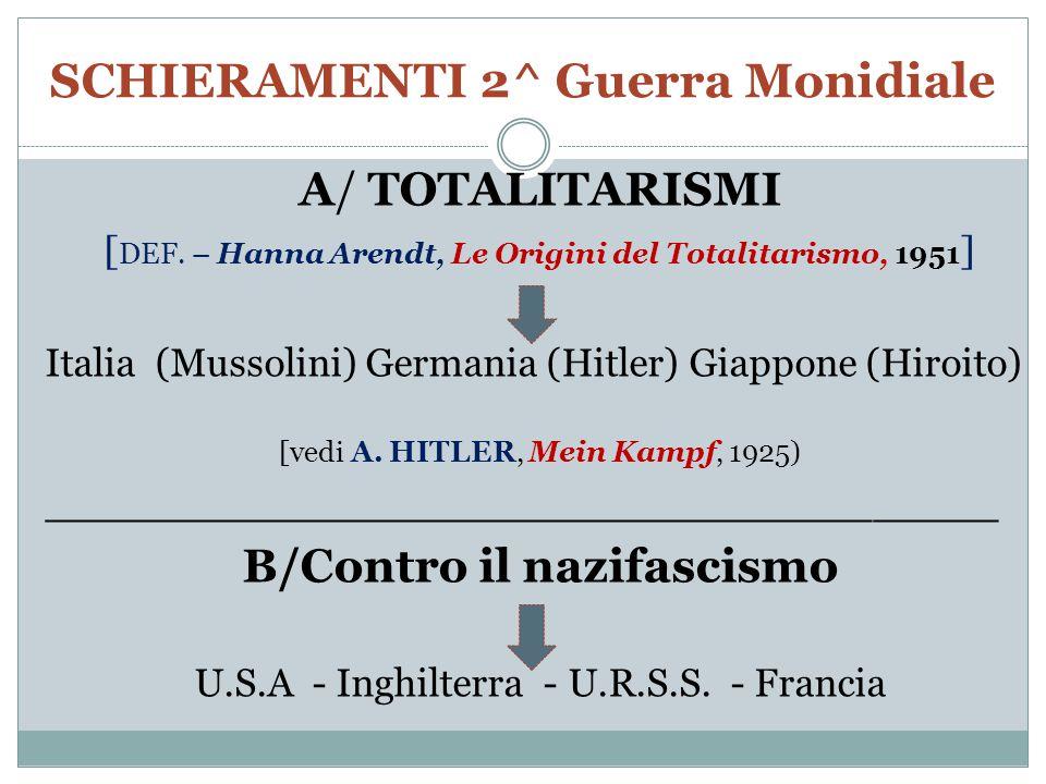 SCHIERAMENTI 2^ Guerra Monidiale A/ TOTALITARISMI [ DEF.