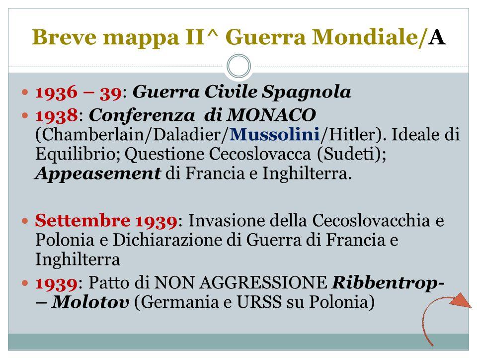 Breve mappa II^ Guerra Mondiale/A 1936 – 39: Guerra Civile Spagnola 1938: Conferenza di MONACO (Chamberlain/Daladier/Mussolini/Hitler).