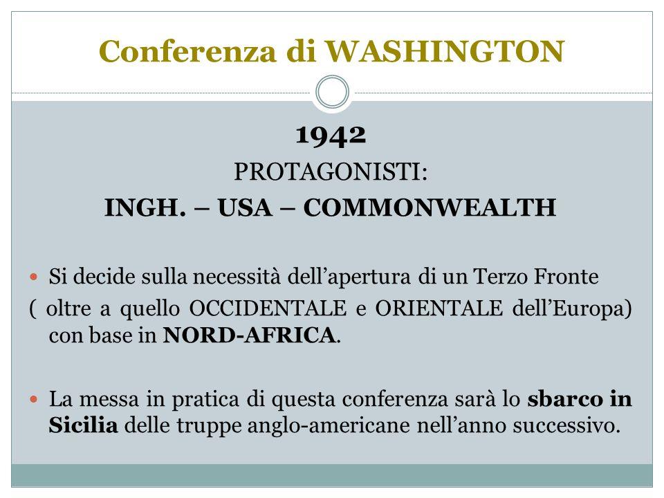 Conferenza di WASHINGTON 1942 PROTAGONISTI: INGH.