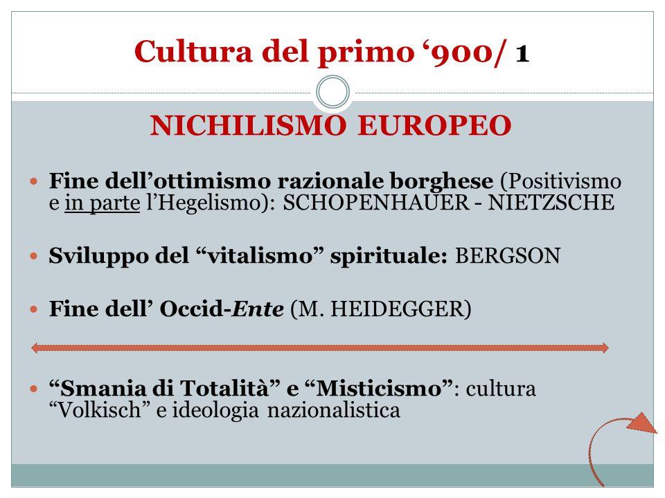 Cultura del primo '900/ 1 NICHILISMO EUROPEO Fine dell'ottimismo razionale borghese (Positivismo e in parte l'Hegelismo): SCHOPENHAUER - NIETZSCHE Sviluppo del vitalismo spirituale: BERGSON Fine dell' Occid-Ente (M.