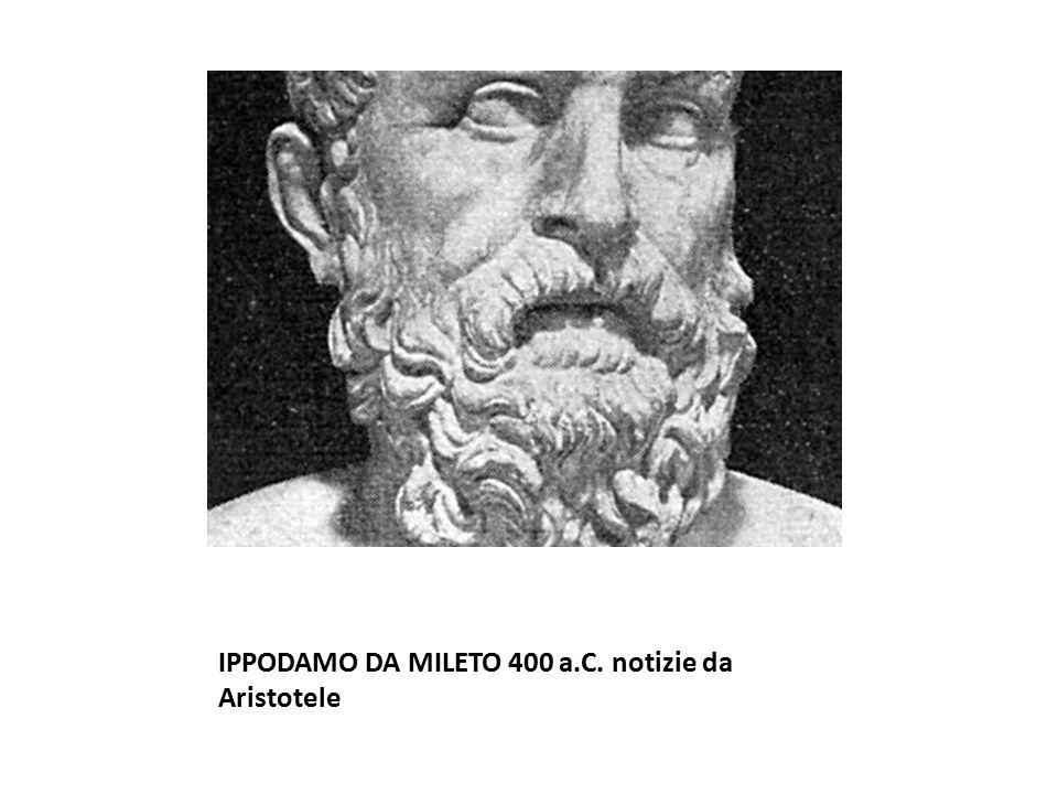 IPPODAMO DA MILETO 400 a.C. notizie da Aristotele