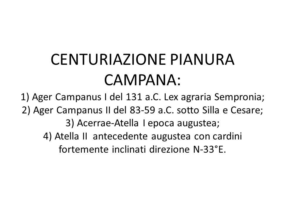 CENTURIAZIONE PIANURA CAMPANA: 1) Ager Campanus I del 131 a.C. Lex agraria Sempronia; 2) Ager Campanus II del 83-59 a.C. sotto Silla e Cesare; 3) Acer