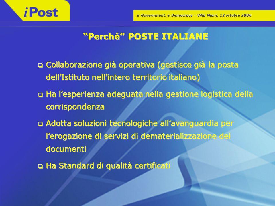 """e-Government, e-Democracy – Villa Miani, 12 ottobre 2006 """"Perché"""" POSTE ITALIANE  Collaborazione già operativa (gestisce già la posta dell'Istituto n"""