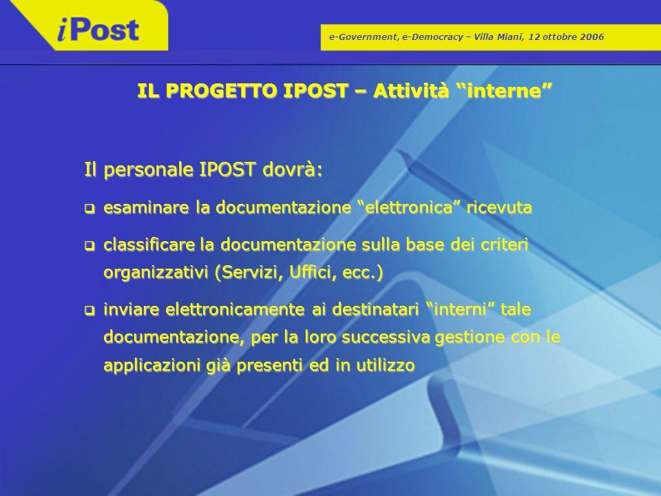 """e-Government, e-Democracy – Villa Miani, 12 ottobre 2006 IL PROGETTO IPOST – Attività """"interne"""" Il personale IPOST dovrà:  esaminare la documentazion"""