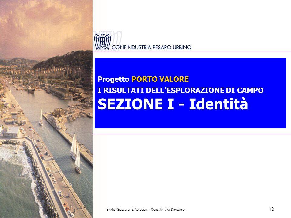 Studio Giaccardi & Associati - Consulenti di Direzione 12 PORTO VALORE Progetto PORTO VALORE I RISULTATI DELL'ESPLORAZIONE DI CAMPO SEZIONE I - Identità