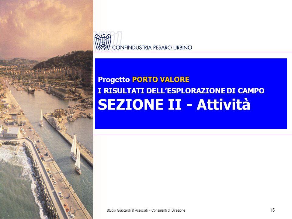 Studio Giaccardi & Associati - Consulenti di Direzione 16 PORTO VALORE Progetto PORTO VALORE I RISULTATI DELL'ESPLORAZIONE DI CAMPO SEZIONE II - Attività