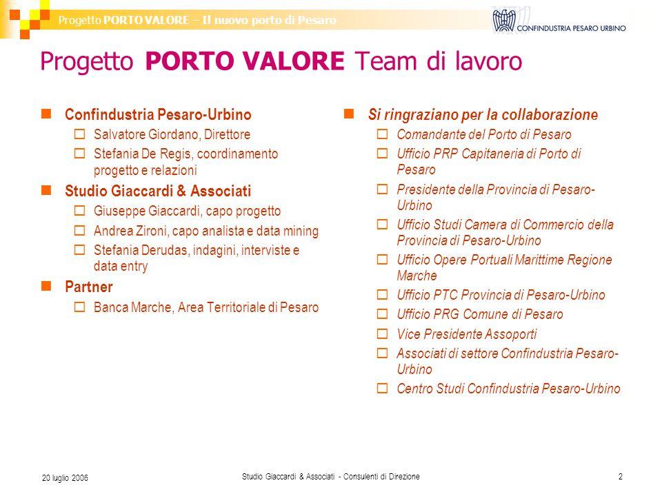Progetto PORTO VALORE – Il nuovo porto di Pesaro Studio Giaccardi & Associati - Consulenti di Direzione2 20 luglio 2006 Progetto PORTO VALORE Team di