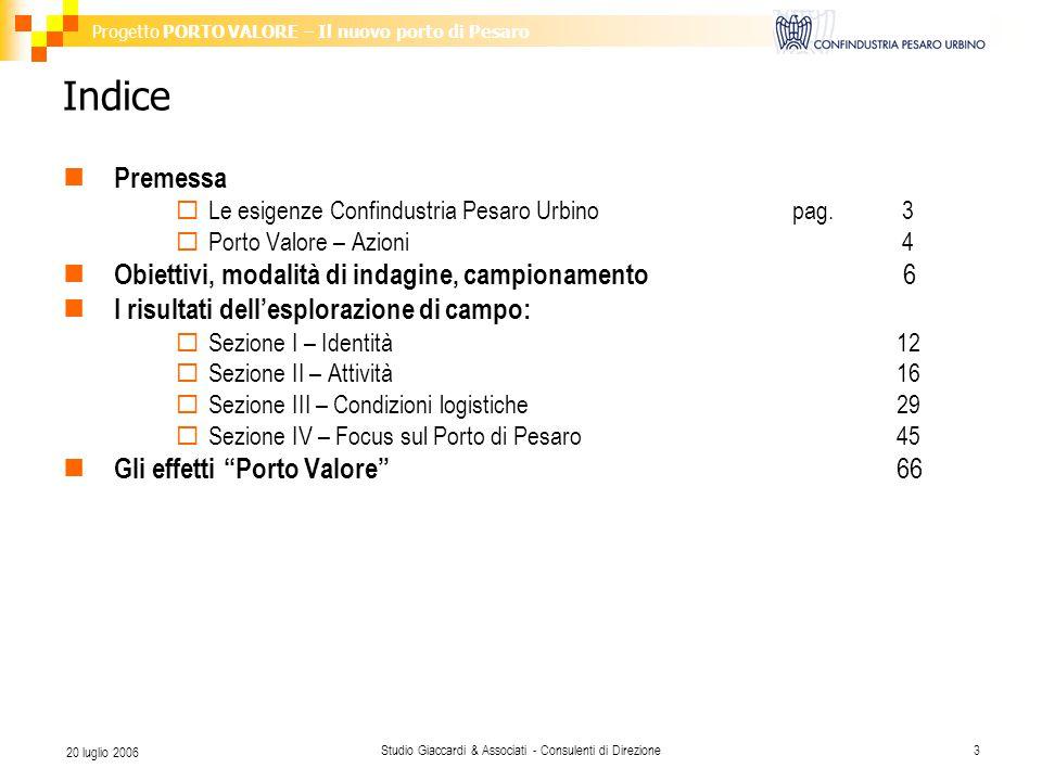 Progetto PORTO VALORE – Il nuovo porto di Pesaro Studio Giaccardi & Associati - Consulenti di Direzione3 20 luglio 2006 Indice Premessa  Le esigenze Confindustria Pesaro Urbinopag.