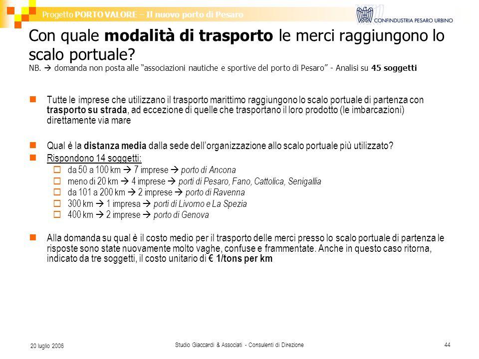 Progetto PORTO VALORE – Il nuovo porto di Pesaro Studio Giaccardi & Associati - Consulenti di Direzione44 20 luglio 2006 Con quale modalità di trasporto le merci raggiungono lo scalo portuale.