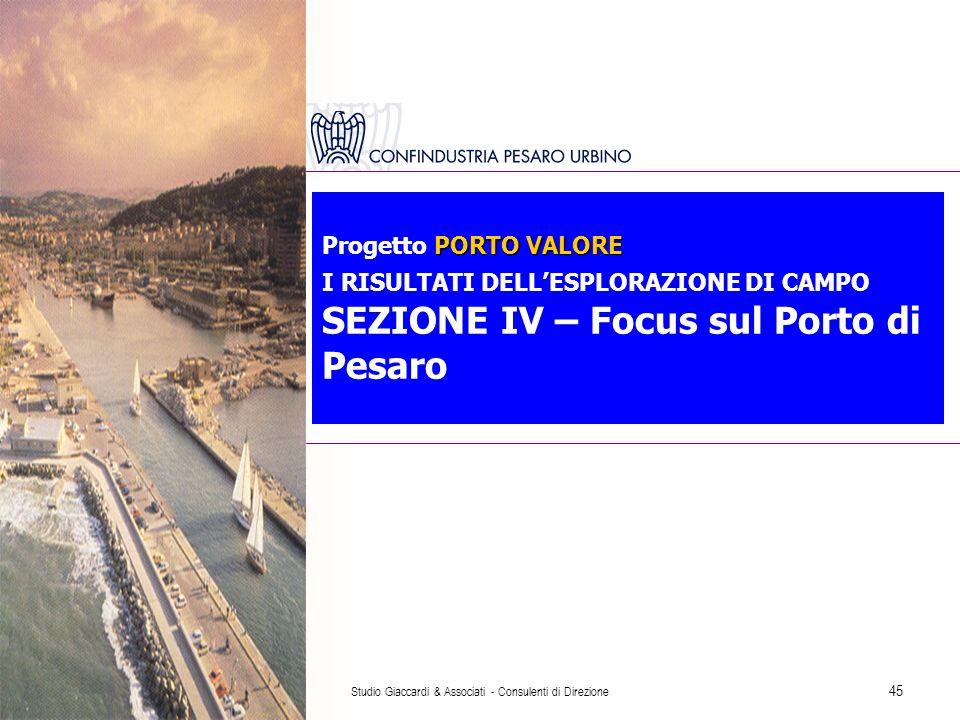 Studio Giaccardi & Associati - Consulenti di Direzione 45 PORTO VALORE Progetto PORTO VALORE I RISULTATI DELL'ESPLORAZIONE DI CAMPO SEZIONE IV – Focus sul Porto di Pesaro