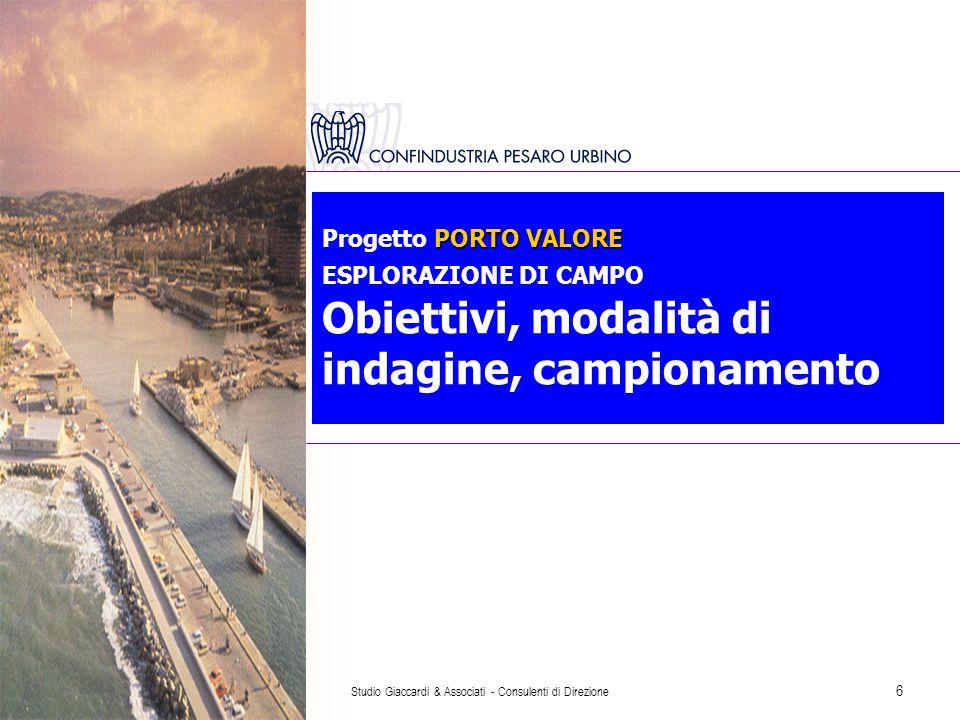 Studio Giaccardi & Associati - Consulenti di Direzione 6 PORTO VALORE Progetto PORTO VALORE ESPLORAZIONE DI CAMPO Obiettivi, modalità di indagine, campionamento