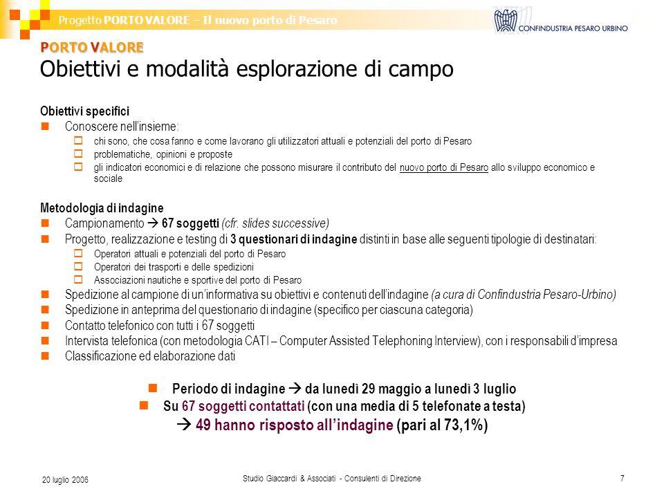 Progetto PORTO VALORE – Il nuovo porto di Pesaro Studio Giaccardi & Associati - Consulenti di Direzione7 20 luglio 2006 PORTO VALORE PORTO VALORE Obie