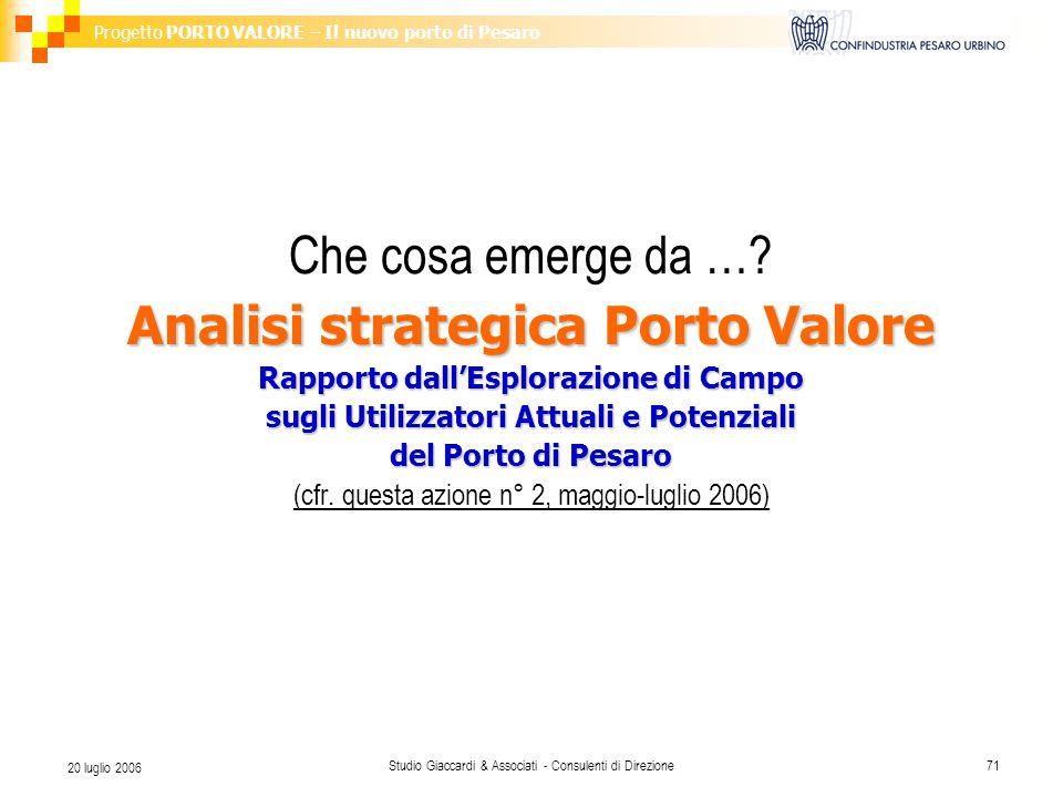 Progetto PORTO VALORE – Il nuovo porto di Pesaro Studio Giaccardi & Associati - Consulenti di Direzione71 20 luglio 2006 Che cosa emerge da …? Analisi