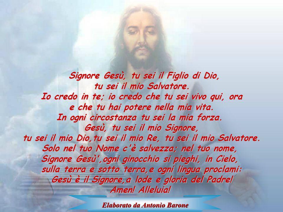 Signore Signore Gesù, tu sei il Figlio di Dio, tu sei il mio Salvatore. Io credo in te; io credo che tu sei vivo qui, ora e che tu hai potere nella mi