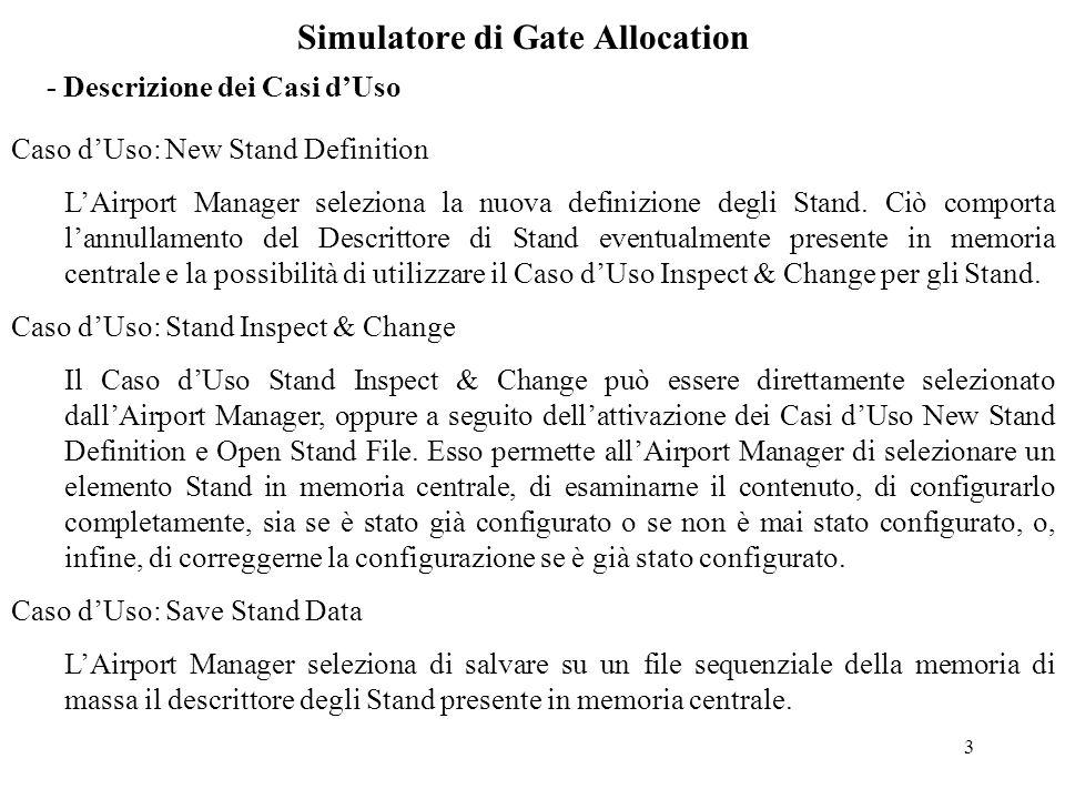 3 Simulatore di Gate Allocation - Descrizione dei Casi d'Uso Caso d'Uso: New Stand Definition L'Airport Manager seleziona la nuova definizione degli Stand.