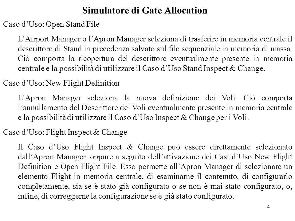 4 Simulatore di Gate Allocation Caso d'Uso: Open Stand File L'Airport Manager o l'Apron Manager seleziona di trasferire in memoria centrale il descrittore di Stand in precedenza salvato sul file sequenziale in memoria di massa.