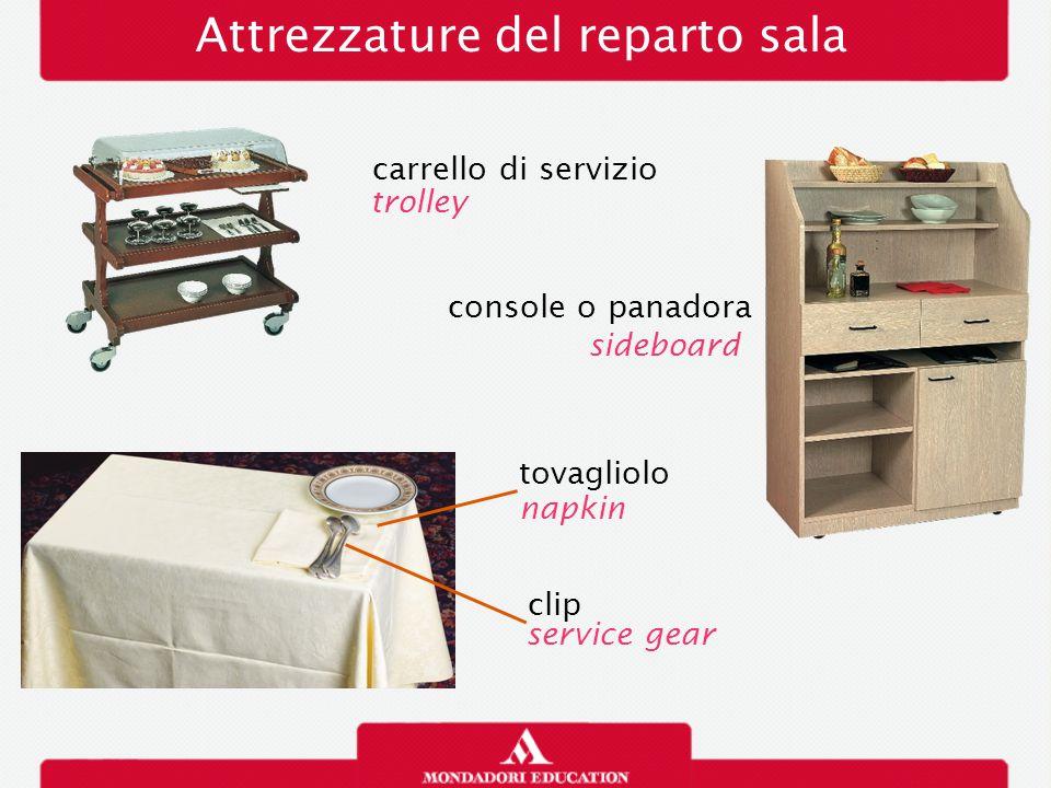Attrezzature del reparto sala clip service gear carrello di servizio trolley console o panadora sideboard tovagliolo napkin