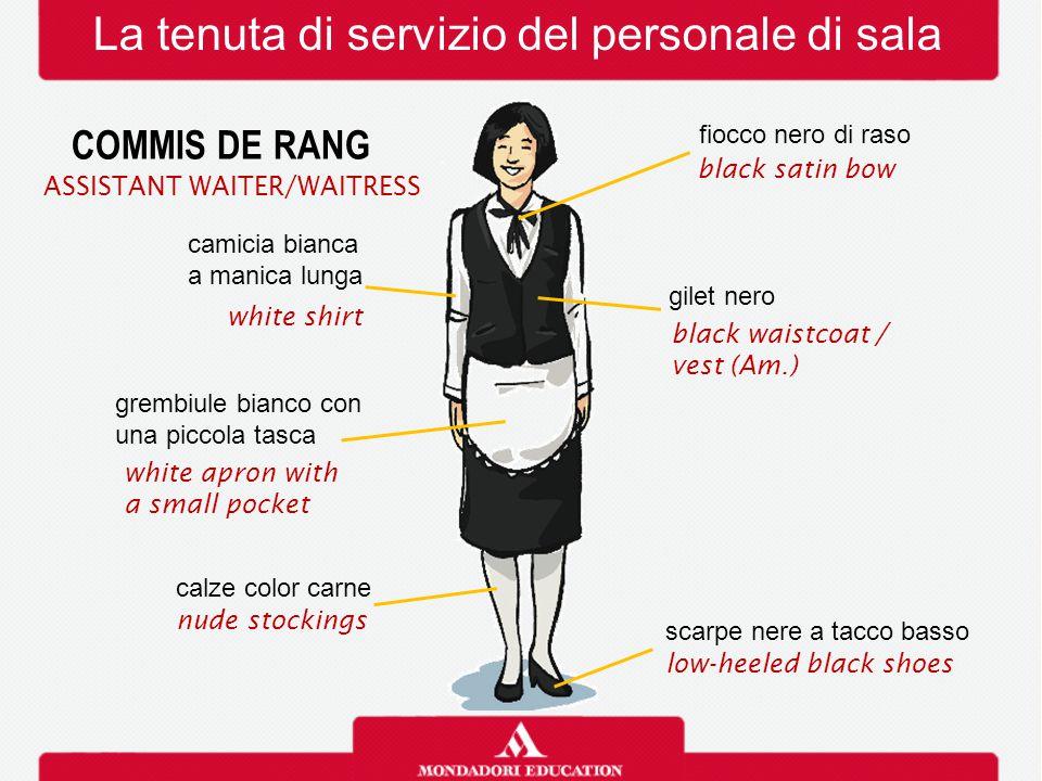 La tenuta di servizio del personale di sala COMMIS DE RANG camicia bianca a manica lunga white shirt gilet nero black waistcoat / vest (Am.) fiocco ne