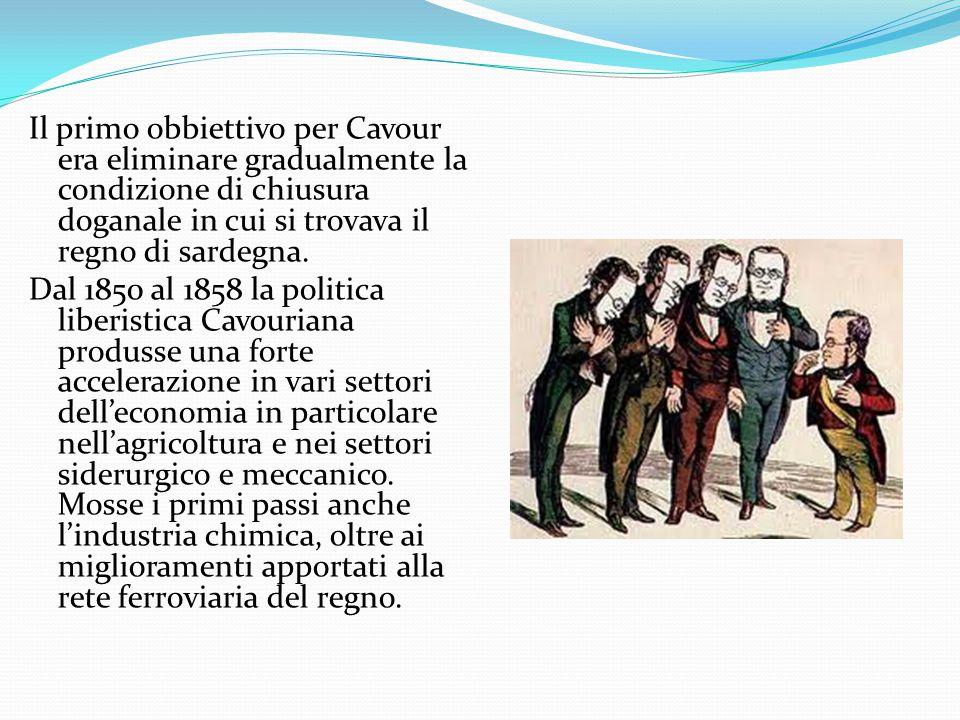 Il primo obbiettivo per Cavour era eliminare gradualmente la condizione di chiusura doganale in cui si trovava il regno di sardegna. Dal 1850 al 1858