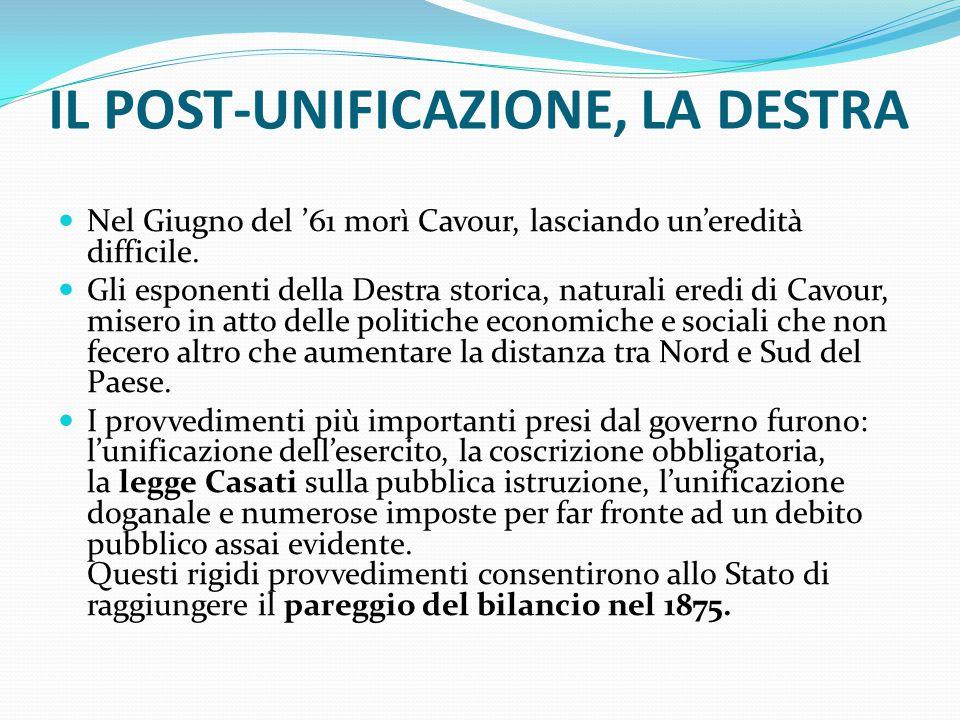 IL POST-UNIFICAZIONE, LA DESTRA Nel Giugno del '61 morì Cavour, lasciando un'eredità difficile. Gli esponenti della Destra storica, naturali eredi di