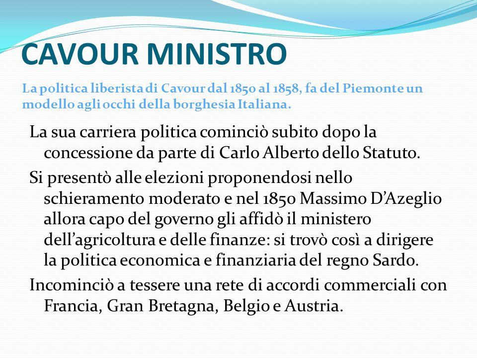 CAVOUR MINISTRO La sua carriera politica cominciò subito dopo la concessione da parte di Carlo Alberto dello Statuto.